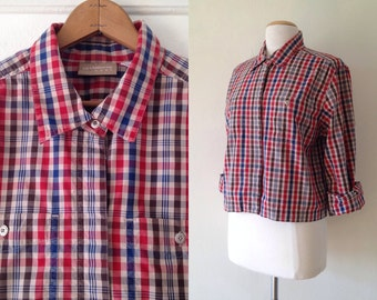 SALE plaid shirt / womens cropped shirt / red plaid shirt / 1990s clothing / button up womens / normcore