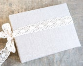 Extra Large Rustic Burlap and Lace Photo Album Linen Wedding Guest Book Baby Photo Album
