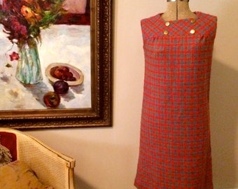 1960's Sears Fashions Plaid Dress, Woven Knit Blend, Zippered Back