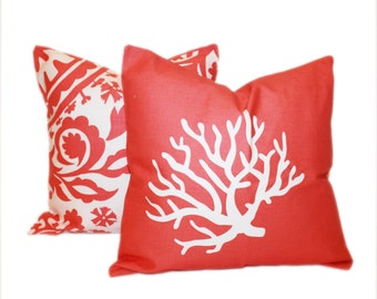 CORAL PILLOW PAIR 18x18 Decorative Pillow Covers Coral on White Suzani Print Toss Pillows Accent Pillow