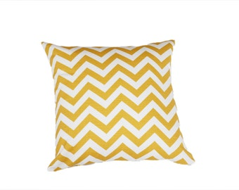 Yellow and White Chevron Cushion Cover - Yellow Zig Zag Throw a pillow With Zipper Closure