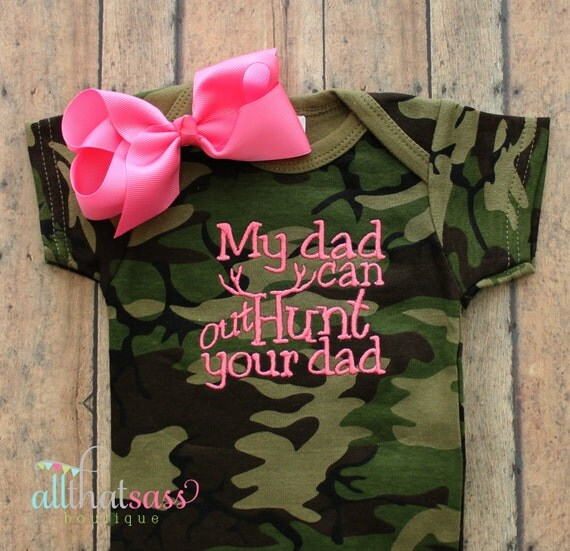 baby girls camo hunting bodysuit and bow daddy camouflage