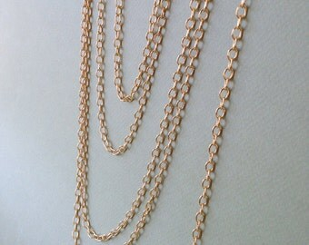 22K Gold Cable Chain 6mm, Matte Gold Chain, Basic Chain, 6mm, 4Ft