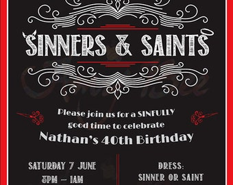 Sinners & Saints Invitation - Printable