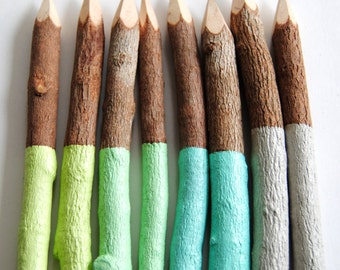 "CHOOSE YOUR COLORS >> Eight 5"" Dipped Graphite Rustic Twig Pencils"