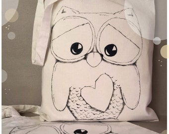 Cotton, hand painted bag with Owl - long handle