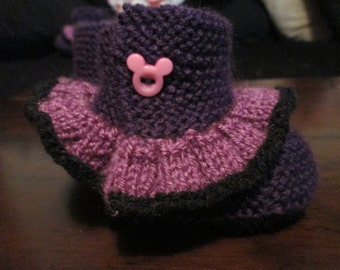 Black,Purple  & Dark Purple Hand Knitted Baby Booties with Frill, Mickey Mouse Buttons, Goth, Punk, Rock