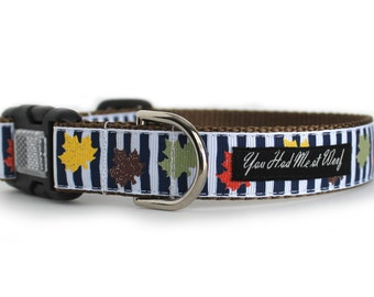 Fall Dog Collar with Glitter Leaves and Stripes, Autumn Colors, Thanksgiving Dog Collar, 1 Inch - Crisp Fall Days