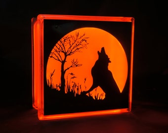 Halloween night light wolf howling at the moon