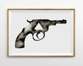 Large Hand Painted Watercolor . Gun . Pistol . Triangle Art . Geometric Painting . Modern Artwork . Black White Art