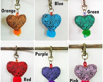 Heart Keychains with Pom pom, Zip Pull, Bag Accessories, Pretty Textile Handmade. (AC1022)