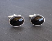 SECONDS: Black onyx cuff links, silver-plated cufflinks, men's gift