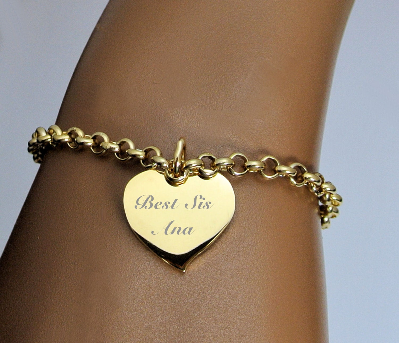 Engraved Gold Heart Charm Bracelet / Order 5 Of The Same