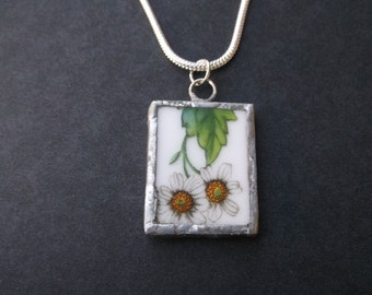 White Flowers Broken China Necklace - Handmade White Flowers with Leaves recycled broken plate OOAK -- Pendant