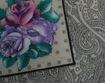Vintage 1980s Paisley and Floral Square Scarf
