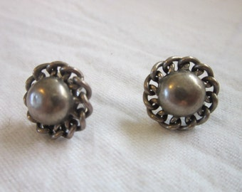 Vintage Sterling Silver Screw Back Fancy Earrings