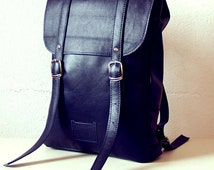 Navy middle size leather backpack rucksack / To order
