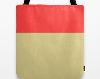 Women's Tote Bag,Color Block, Red and Tan, Canvas Tote Bag, Back to School, Bridesmaid Gift