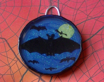 Bats in the Night Magnet or Wall Hanging Art - Upcycle - Trash to Treasure - Horror, HALLOWEEN