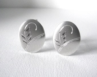 Vintage Sterling Silver Oval Cufflinks With Engraved Flourish