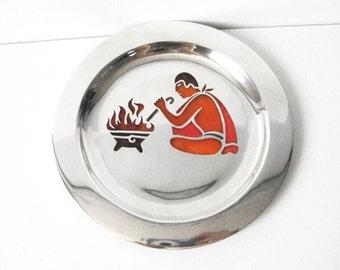 Los Castillos Aztec Plique A Jour sterling silver dish