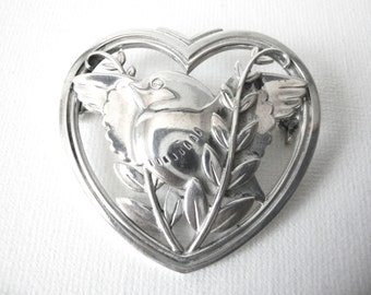 Georg Jensen Sterling Silver Heart Brooch With Dove Marked GJ Circa 1933 to 1944 Style 239