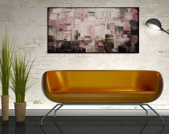 "Original Modern Art  Painting on Gallery wrapped Canvas 36"" x 18"", Home Decor, Wall Art"