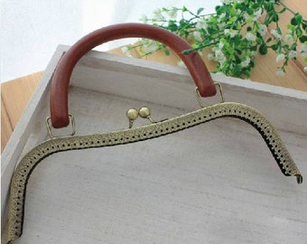 10 1/4 inch ( 26cm) portable purse frame Anti bronze with sewing holes wooden handle above6inch 200-099