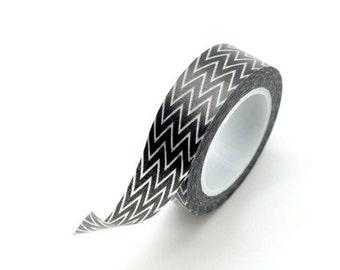 Washi Tape Paper Masking Tape - Skinny Black Zig Zag