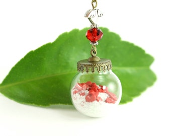 Red Hearts Necklace, Rustic Whimsical Valentine's Day Sweethearts Romantic Quirky Sentimental Glass Globe Red Love Glow in the Dark Jewelry
