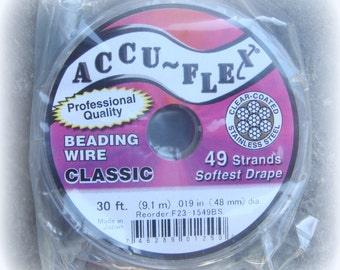 Accu~Flex Beading Wire - Clear (silver color), 49 Strand, 30 Feet (.19in thickness) - Wire for necklaces and bracelets