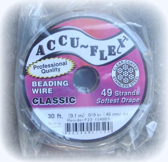 accuflex beading wire clear silver color 49 strand 30