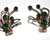 Vintage 1950s Rhinestone Earrings Green Rhinestones Designer Pat. Pening Wedding Mad Man Garden Party