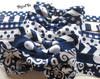 Navy Mismatched Bow Tie, Wedding Bow Ties, Mix And Match Coordinating Custom Wedding Bow Ties in 100% Designer Cotton, Any Size