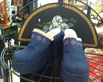 German retro like new 70's denim clogs by Magic .