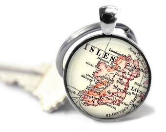 Custom Ireland Keychain, Ireland Map Keychains, Irish Key Chain, Dublin Travel keychain, Gift for Her, Gift for Him, Belfast, A180