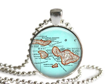 Maui Islands Map Necklace Pendant Charm, Molokai, bachelorette gift, Hawaiian Jewelry, Maui necklace, Maui Hawaii keychain, A230