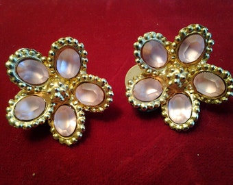 pink flower vintage costume jewelry earring