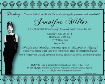 "Breakfast at Tiffany's Theme Bridal Invitation ""EACH"" (WITH ENVELOPES)"