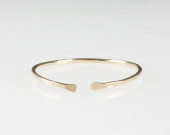 1 Gold Cuff Ring . Dainty ring . Minimalist ring . Classic stacking ring . delicate gold ring . midi ring . gold band jewellery