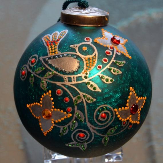 Hand painted Glass Christmas Ornament Silver Bird Folk Design