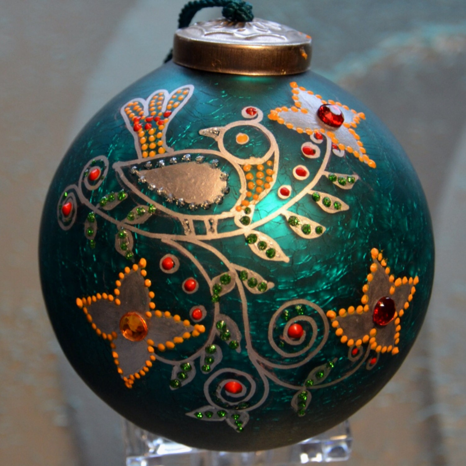 Hand painted glass christmas ornament silver bird folk design for Christmas glass painting