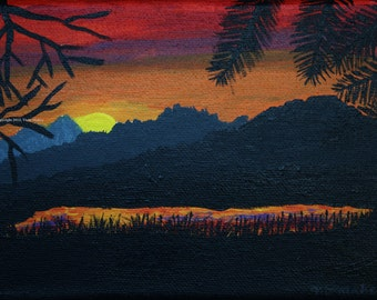 Wall Art // Sunset Painting // Landscape // Mountain Lake at Sunset // Original Painting