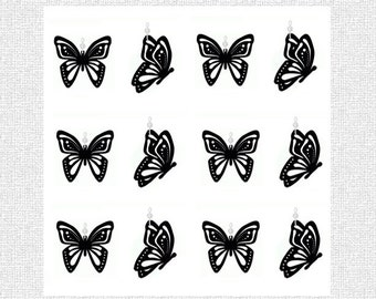 Shower Curtain Ring Ornaments..Butterfly Silhouette.....Set of 12