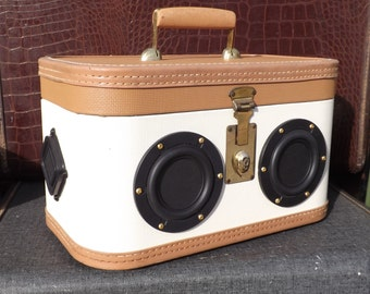 "SOLD Vintage Train Suitcase Boombox Portable MP3 Player Battery Powered ""AFTERNOON DELIGHT""  by Hi-Fi Luggage"
