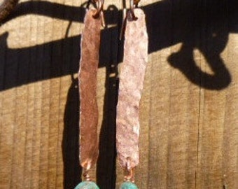 Hammered Copper & Turquoise Earrings