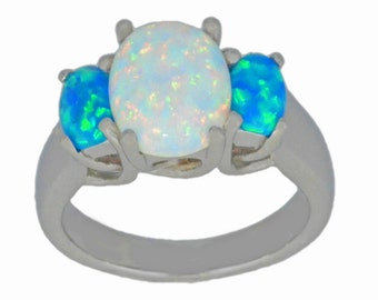 White Opal & Blue Opal Oval Ring .925 Sterling Silver Rhodium Finish