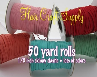 CORAL - Skinny Elastic 50 yard roll for baby and adult headbands thin one eighth inch width rolled on tiny rolls for storage