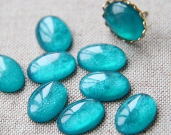12pcs of resin sparkle dome 13x18mm RC1019-17-teal