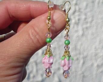 Murano LAMPWORK pink TULIP beads, fx PEARL & Swarovski crystal beads exquisite earrings.